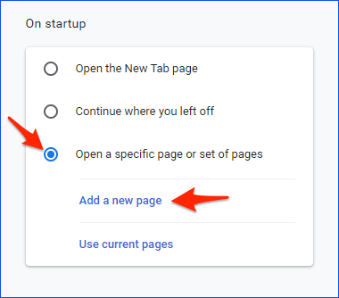 changing the Chrome startup preference