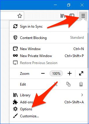 the Firefox Open Menu button